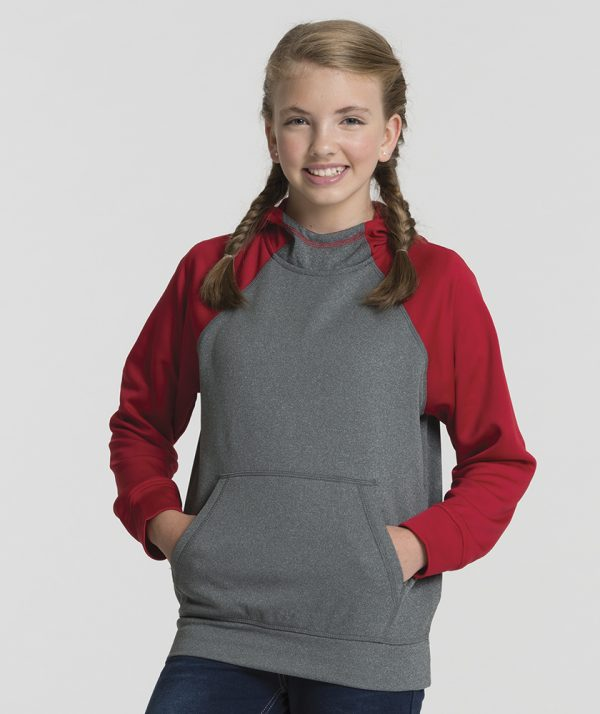 Charles River Apparel 8690 Youth Field Long Sleeve Sweatshirt Red Heather