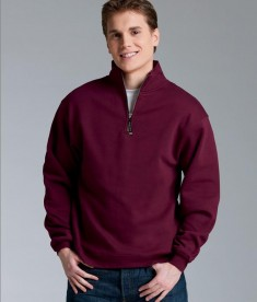 Charles River Apparel Style 9359 Crosswind Quarter Zip Sweatshirt Maroon Model