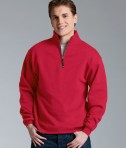 Charles River Apparel Style 9359 Crosswind Quarter Zip Sweatshirt Red Young Model