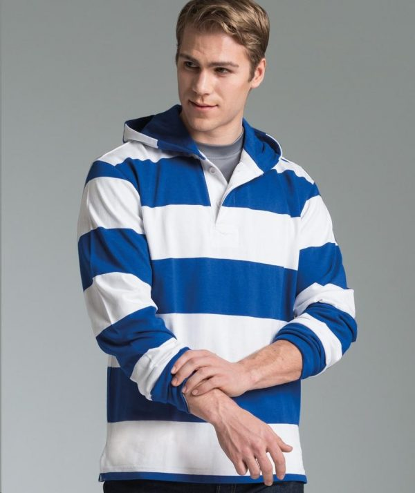 Charles River Apparel Style 9574 Hooded Rugby Pullover Royal/White