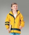 Charles River Apparel 7099 Children's New Englander Rain Jacket - Yellow/Navy Girl Model