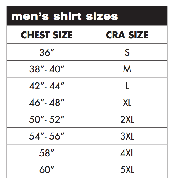 Charles River Apparel Men's Shirts Sizing Chart