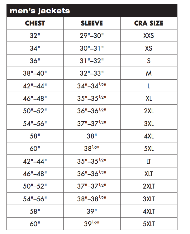 Charles River Arel Men S Jackets Sizing Chart