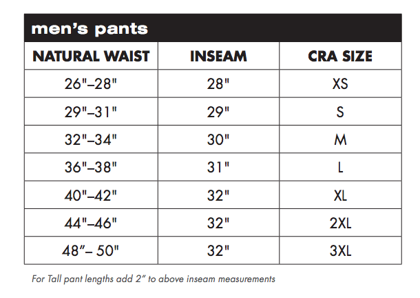 Charles River Apparel Men's Pants Sizing Chart
