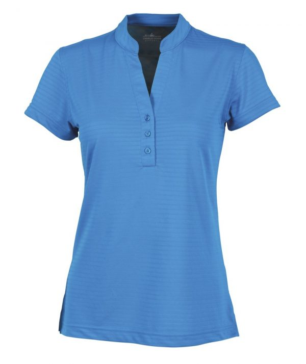 Charles River Apparel Style 2617 Women's Shadow Stripe mandarin Collar Polo Ocean Blue