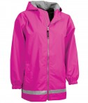 Charles River Apparel Style 8099 Youth New Englander Rain Jacket - Hot Pink/Reflective