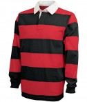 Charles River Apparel Style 9278 Classic Rugby Shirt - Black/Red