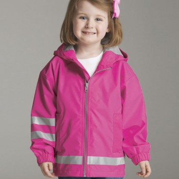 Charles River Apparel 6099 Toddler New Englander Rain Jacket – Hot Pink/Reflective Model