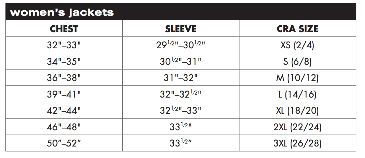 Charles River Apparel Womens Jackets Sizing Chart