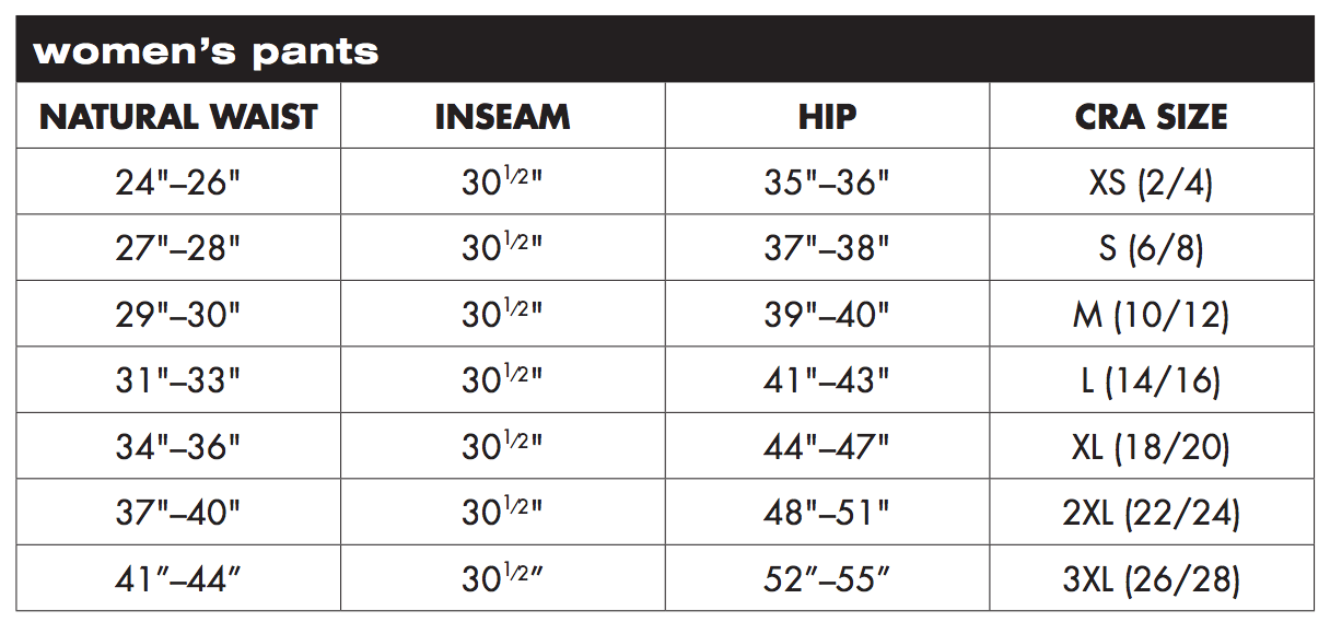 Charles River Apparel Women's Pants Sizing Chart