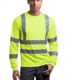 CornerStone - ANSI 107 Class 3 Long Sleeve Snag-Resistant Reflective T-Shirt Style CS409 Safety Yellow
