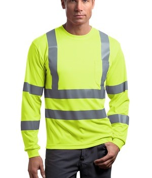 CornerStone – ANSI 107 Class 3 Long Sleeve Snag-Resistant Reflective T-Shirt Style CS409 Safety Yellow