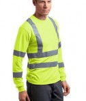 CornerStone - ANSI 107 Class 3 Long Sleeve Snag-Resistant Reflective T-Shirt Style CS409 Safety Yellow Angle