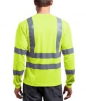 CornerStone - ANSI 107 Class 3 Long Sleeve Snag-Resistant Reflective T-Shirt Style CS409 Safety Yellow Back