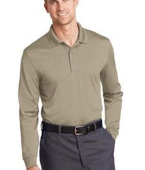 corner-stone-select-snag-proof-long-sleeve-polo-tan-front
