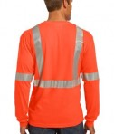 CornerStone - ANSI 107 Class 2 Long Sleeve Safety T-Shirt Style CS401LS Safety Orange Back