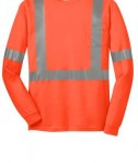CornerStone - ANSI 107 Class 2 Long Sleeve Safety T-Shirt Style CS401LS Safety Orange Flat