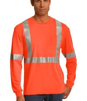 CornerStone – ANSI 107 Class 2 Long Sleeve Safety T-Shirt Style CS401LS Safety Orange
