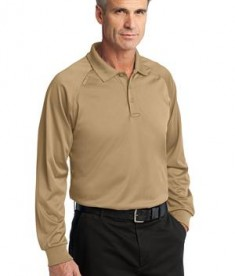CornerStone - Select Long Sleeve Snag-Proof Tactical Polo Style CS410LS Tan Angle