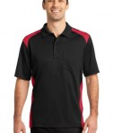CornerStone - Select Snag-Proof Two Way Colorblock Pocket Polo Style CS416 Black/Red