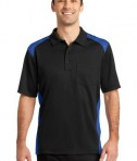 CornerStone - Select Snag-Proof Two Way Colorblock Pocket Polo Style CS416 Black/Royal