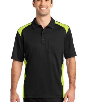 CornerStone – Select Snag-Proof Two Way Colorblock Pocket Polo Style CS416 Black/Shock Green