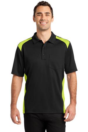 CornerStone - Select Snag-Proof Two Way Colorblock Pocket Polo Style CS416 Black/Shock Green