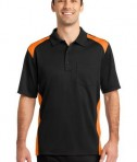 CornerStone - Select Snag-Proof Two Way Colorblock Pocket Polo Style CS416 Black/Shock Orange