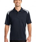 CornerStone - Select Snag-Proof Two Way Colorblock Pocket Polo Style CS416 Dark Navy/Light Grey