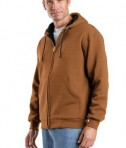 CornerStone - Heavyweight Full-Zip Hooded Sweatshirt with Thermal Lining Style CS620 Brown Angle