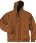 CornerStone - Heavyweight Full-Zip Hooded Sweatshirt with Thermal Lining Style CS620 Brown Front Flat