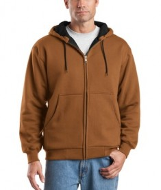 CornerStone - Heavyweight Full-Zip Hooded Sweatshirt with Thermal Lining Style CS620 Brown
