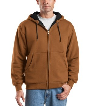 CornerStone – Heavyweight Full-Zip Hooded Sweatshirt with Thermal Lining Style CS620 Brown