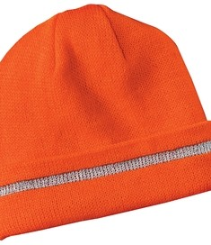 CornerStone - Enhanced Visibility Beanie with Reflective Stripe Style CS800 Safety Orange