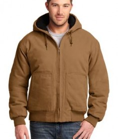 CornerStone - Washed Duck Cloth Insulated Hooded Work Jacket Style CSJ41 Duck Brown