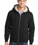CornerStone Heavyweight Sherpa-Lined Hooded Fleece Jacket Black Front