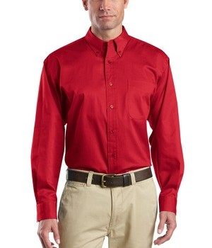 CornerStone – Long Sleeve SuperPro Twill Shirt Style SP17 Red