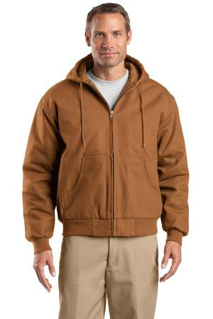 CornerStone TLJ763H Duck Cloth Hooded Work Jacket Tall Duck Brown