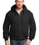 CornerStone Washed Duck Cloth Insulated Hooded Work Jacket Black Front