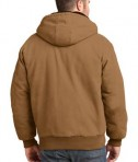 CornerStone Washed Duck Cloth Insulated Hooded Work Jacket Duck Brown Back