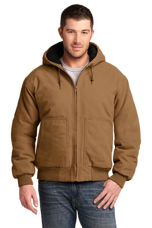 CornerStone Washed Duck Cloth Insulated Hooded Work Jacket Duck Brown Front