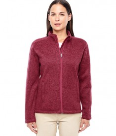 Devon & Jones Ladies' Bristol Full-Zip Sweater Fleece Jacket Red Heather