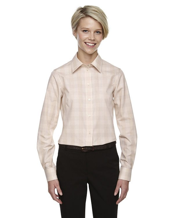 Devon & Jones Ladies' Crown Collection™ Glen Plaid STN/LT STN/WHT