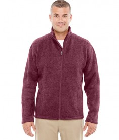 Devon & Jones Men's Bristol Full-Zip Sweater Fleece Jacket Burgundy Heather
