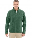 Devon & Jones Men's Bristol Full-Zip Sweater Fleece Jacket Forest Heather