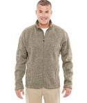 Devon & Jones Men's Bristol Full-Zip Sweater Fleece Jacket Khaki Heather