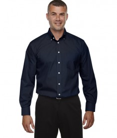 Devon & Jones Men's Tall Crown Collection™ Solid Long-Sleeve Broadcloth Navy
