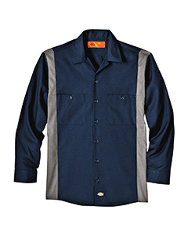 Dickies Drop Ship 4.5 oz. Industrial Long-Sleeve Color Block Shirt DK Navy/Smoke