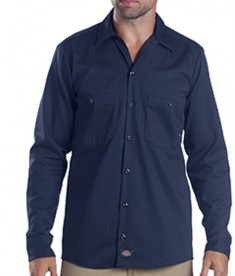 Dickies Drop Ship 6 oz. Industrial Long-Sleeve Cotton Work Shirt Navy