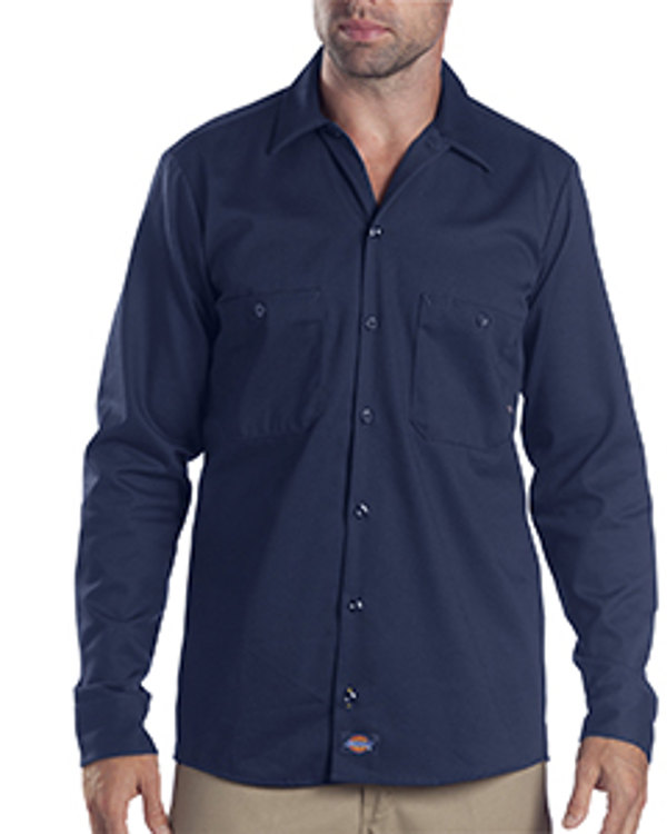 dickies-drop-ship-6-oz-industrial-long-sleeve-cotton-work-shirt-navy